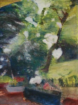 Arbre 24. By Nicolas Borderies, oil on canvas, 160 x 120 cm, 2019.