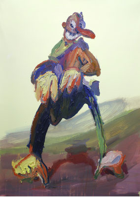 Dicke Hose. Öl af Leinwand 90 x 130 cm