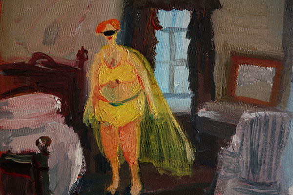 Captain Yellow. Öl auf Leinwand 15 x 22 cm
