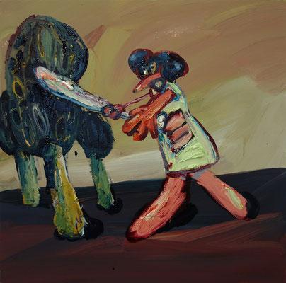 Beat the Pilz. Öl auf Leinwand 50 x 50 cm