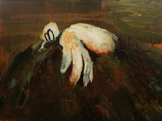 Reclining Duck 130 x 170 cm   oil on canvas