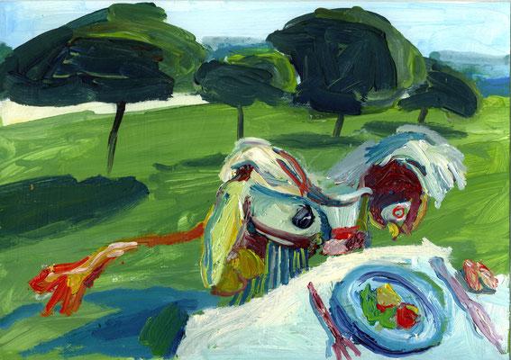 Picknick. Öl auf Karton 21 x 30 cm