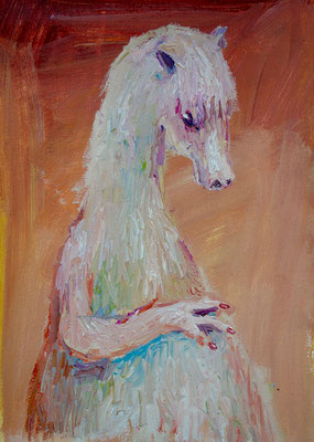 Portrait Pferd. Öl auf Leinwand 32 x 21 cm