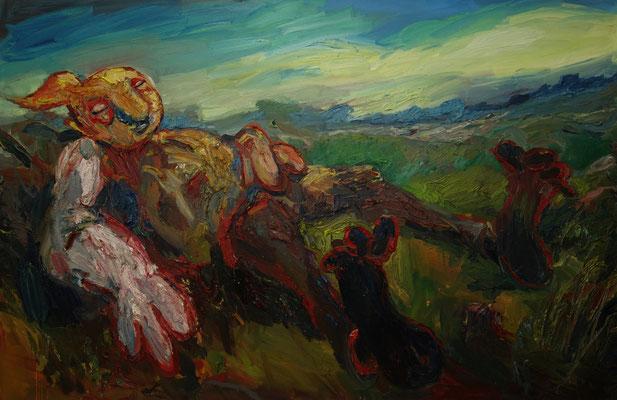Die Rast   120 x 180 cm  oil on canvas