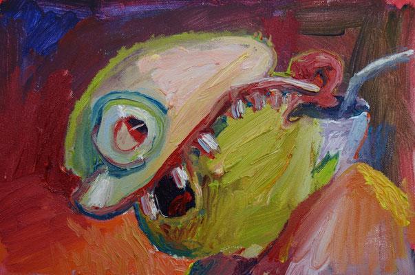 Gesicht. Öl auf Leinwand 27 x 45 cm