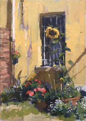 Yellow wall and sunflower (SOLD)