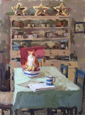 Charlie on the kitchen table (private collection)