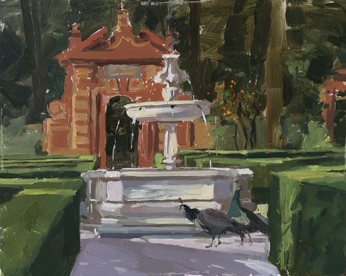 Peacocks in the Alcazar gardens (SOLD)
