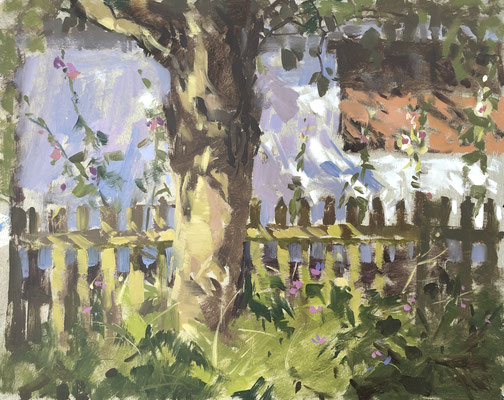 Hollyhocks and shadows, Flatford Mill