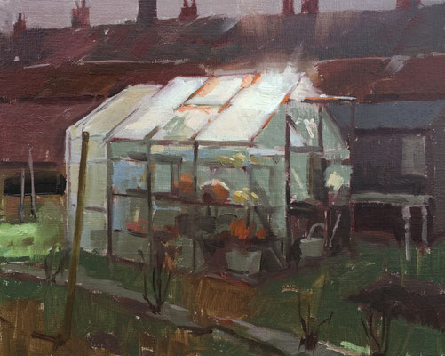 Low winter sun and pumpkins (SOLD)