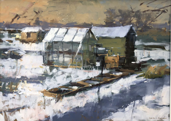 Greenhouse in the snow (SOLD)