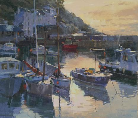 Evening light, Polperro harbour (SOLD)