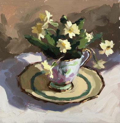 Wild primrose in vintage tea cup (SOLD)