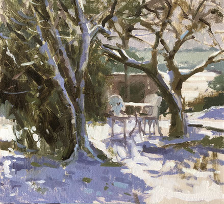 Lilac and bramley trees in the snow (SOLD)