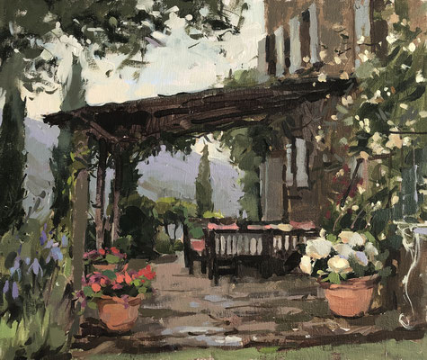 Roses on the terrace and cuckoo calling