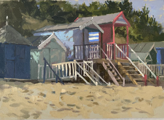Red, white and blue beach huts (SOLD)