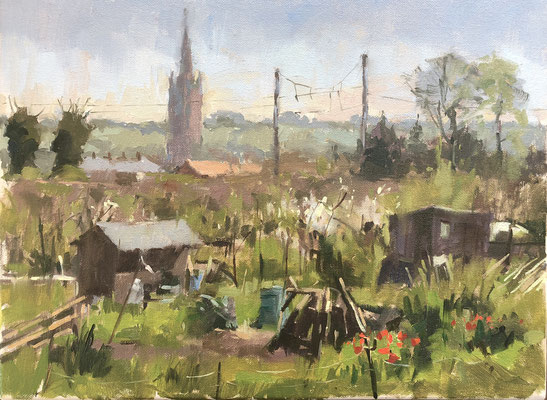 St Wulframs and the allotments from Barrowby Road