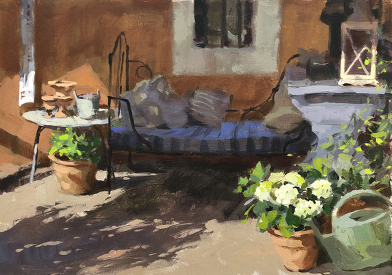 Day bed on the terrace