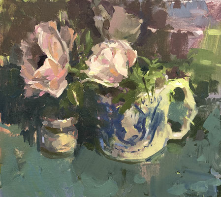 Anemones in silver jubilee cup (SOLD)
