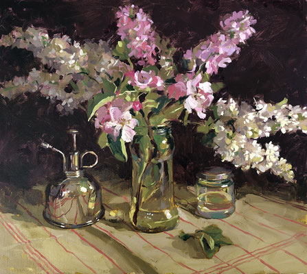 White lilac, stocks and apple blossom