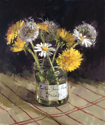 Dandelions and daisies in bonne maman jar (SOLD)