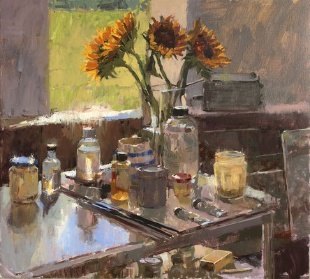 Sunflowers in the studio (SOLD)
