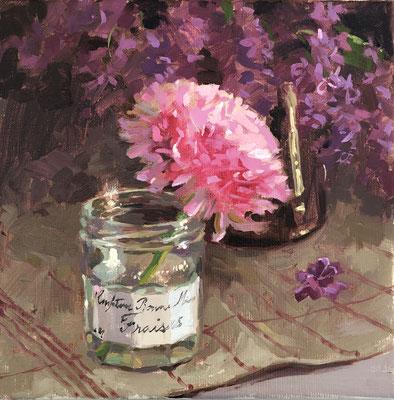 Ranunculus in bonne maman jar (SOLD)