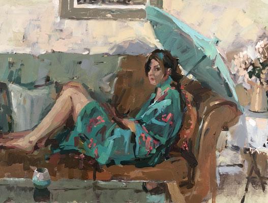 Alex in blue green kimono (SOLD)