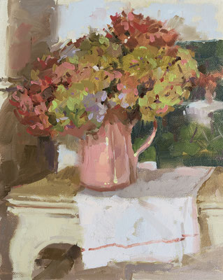 Hydrangeas and french linen (SOLD)