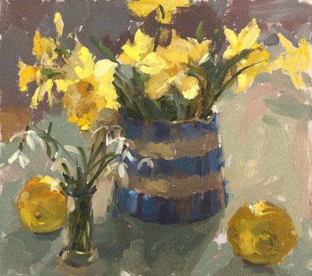 Daffodils and cornishware