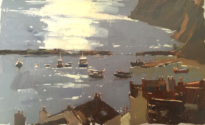 Early morning glare, Staithes (SOLD)