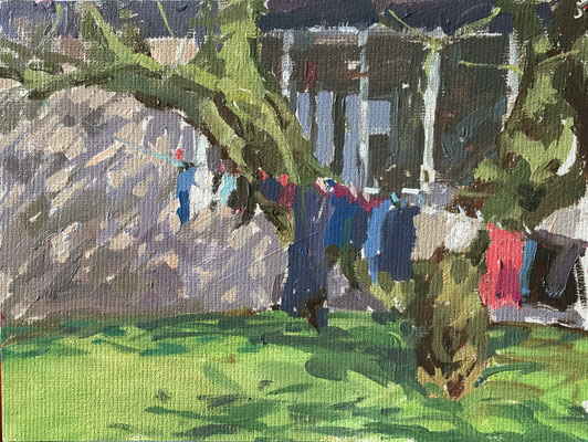 Dappled light, clothesline (private collection)