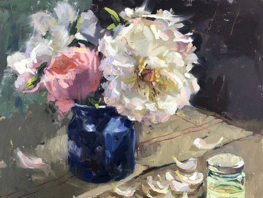 Full blown peony in the afternoon sunlight (SOLD)