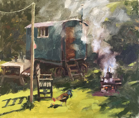 Shepherds hut and smoke (private collection)