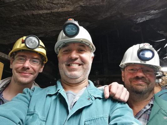 Die drei vonne Tanke gemeinsam in Freiberg unter Tage