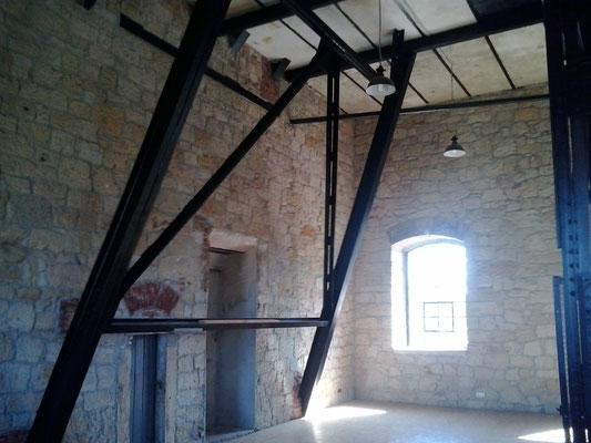 Im Malakovturm vom Marienschacht wurde ein zusätzliches Gerüst eingezogen.