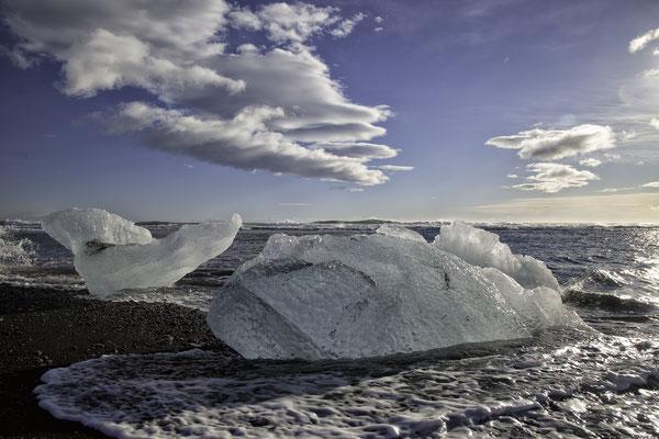 Jökulsarlon Strand am Gletschersee