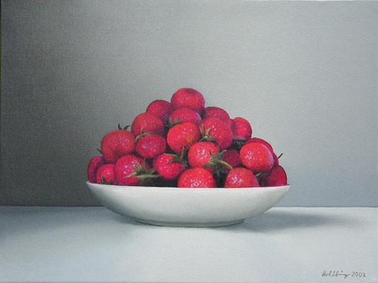 2002 Erdbeeren Öl au8f Leinwand 30x40 cm