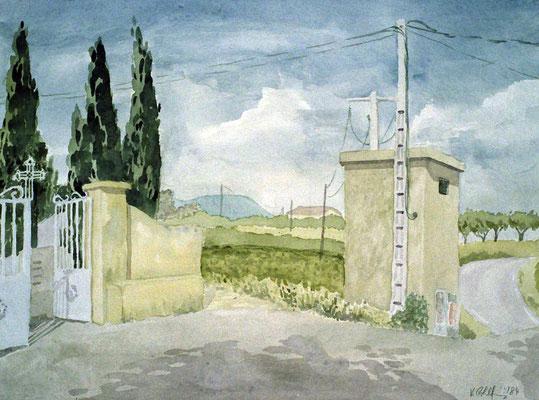 1984 Friedhofstor Aquarell 36x48 cm