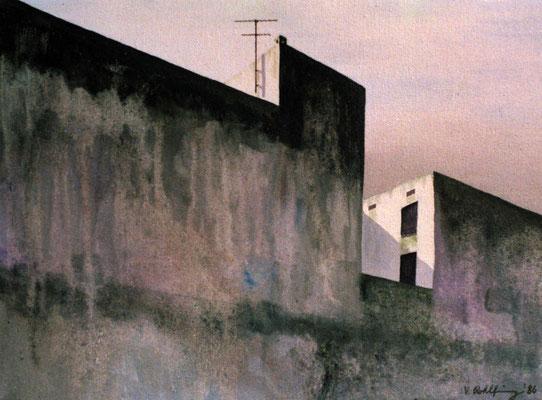 1986 Spanische Wände III  Mischtechnik auf Leinwand 28x38