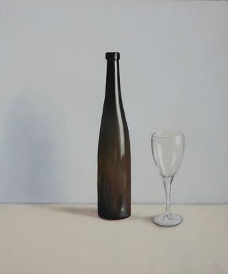 2019 Flasche und Glas (Hommage à Edward Hopper) Öl auf Leinwand 60 x 50 cm