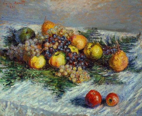 Claude Monet, Birnen und Trauben-Fruchstilleben, 1880, Öl auf Leinwand, 65 x 80 cm