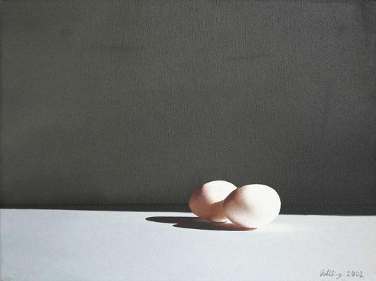 2002 Eier Öl auf Leinwand 30x40 cm