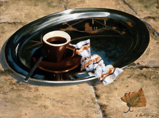 1987 Erster cafè in der Villa Mischtechnik auf Leinwand 30x40 cm