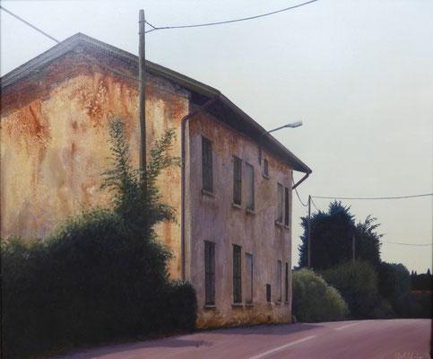 1996 Haus am Straßenrand Mischtechnik auf Leinwand 40x50 cm