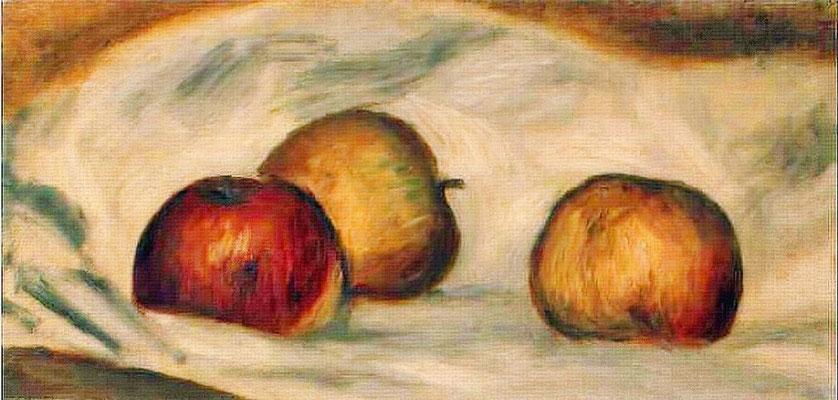 Pierre-Auguste Renoir, Trois pommes sur une table, 1892, Öl auf Leinwand, 15.5 x 31 cm