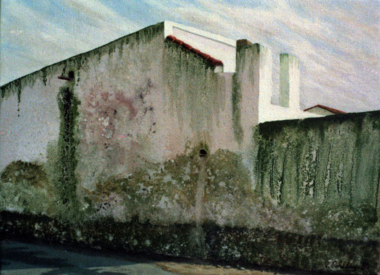 1986 Spanische Wände II  Mischtechnik auf Leinwand 28x38 cm