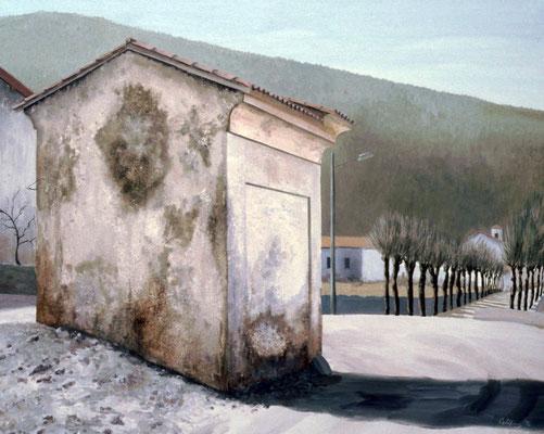 1992 Kapelle in Ganna Mischtechnik auf Leinwand 50x60 cm