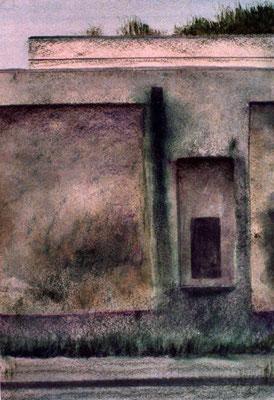 1986 Alte Wand, Pastell und Collage auf Papier 24x18 cm