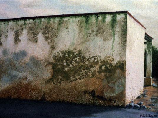 1986 Spanische Wände V  Mischtechnik auf Leinwand 28x38